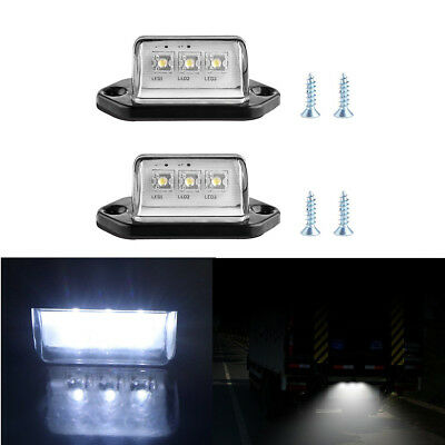 2X 3 LED License Number Plate Light Tail Rear Lamp For Truck Trailer Lorry Bulbs