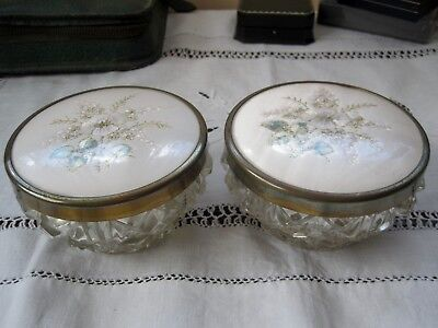2 MATCHING  Embroidered LID DRESSING TABLE SET  ( 1 is AF)