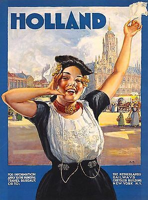 Amsterdam Holland Netherlands Railways Europe Travel Art Poster Advertisement