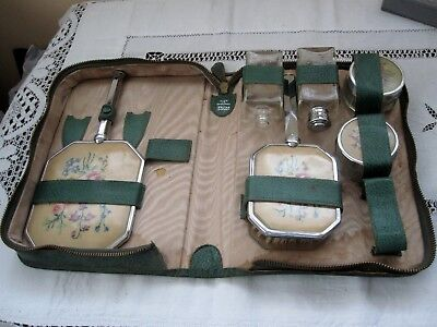 Very Rare 1920 Era Travel Embroidered DRESSING TABLE SET Boxed / Made in England