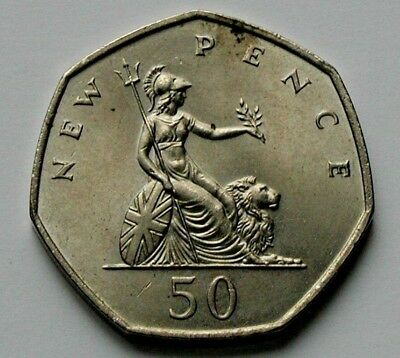 1969 UK (British) Coin - Fifty New Pence (50p) - AU toned-lustre - 7-sided shape