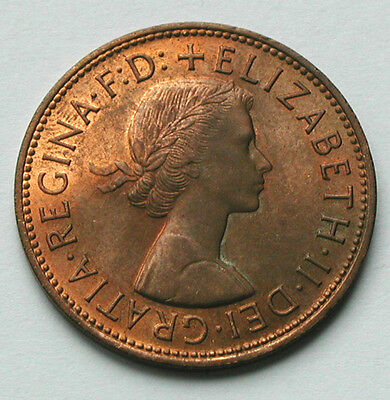 1967 UK (British) Coin - One Penny (1d) - UNC red/brown - darker obverse toning
