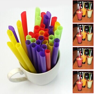 100Pcs Milk Tea Powder Boba Tapioca Pearls Drinking Plastic Straw Bubble Tea Kit