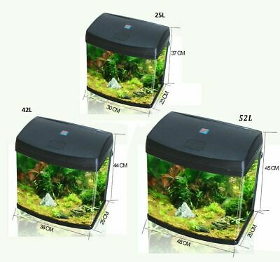 25L/42L/62L Aquarium Fish Glass Tank Fresh Water LED Light Filter Black