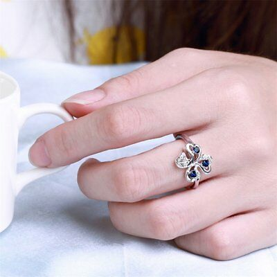 New Fashion Jewelry Ring Women Simulated-Diamond Four Leaves Clover Gift LN