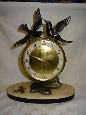 Art Deco Silvoz Paris Marble Based Mantle Clock With Spelter Birds - Working
