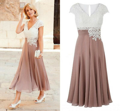 Plus Mother of the Bride Groom Wedding Dresses Tea-length Party Formal Prom Gown