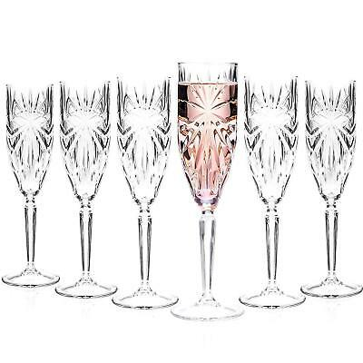 PACK OF 6 CRISTAL D'ARQUES LONGCHAMP CRYSTAL CHAMPAGNE FLUTE GLASSES 5oz / 140ml