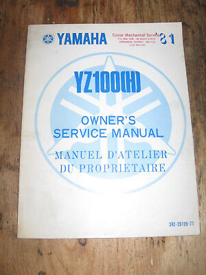 1981 Yamaha Yz 100 (H) Owners Service Manual English And French 5X3-28199-71