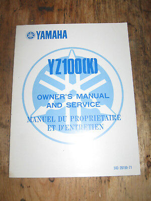 1981 Yamaha Yz 100 (K) Owners Service Manual English And French 5X3-28199-71