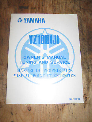 Yamaha Yz 100 (J) Owners Service Manual English And French 5X3-28199-70