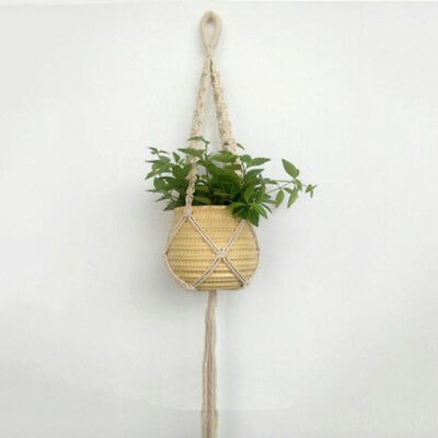 Window Garden Holder Basket Natural Plant Pot Rope Hanging Macrame Hanger Jute