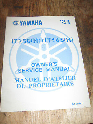 1981 Yamaha It 250H / It465 Owners Service Manual English/french  4V6-28199-71