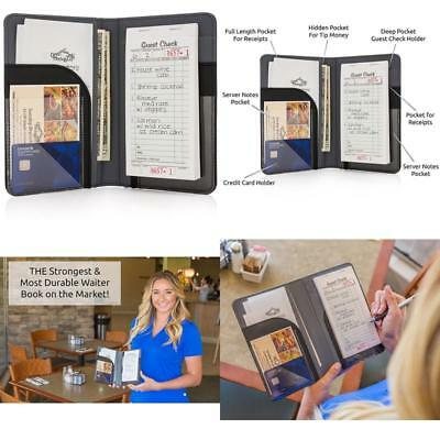 New Premium Strong Leather Server Waiter Book Organizer Guest Checks Credit Card