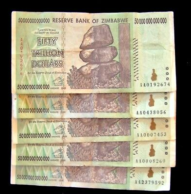 5 pcs x Zimbabwe 50 Trillion Dollar banknotes/AA/2008-collectible currency