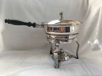 Vtg Sheridan Silver Co. Silverplate Chafing Dish, Burner & Wooden Handle