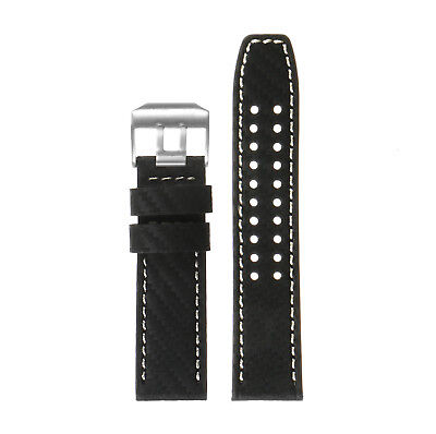 ee92780f1a2 DASSARI 23mm Leather Carbon Fiber Replacement Watch Band Strap for Luminox  Evo