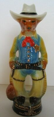 Unused Cowboy Sheriff Gulf Coast Jim Beam Fox Paperweight 1979 9Th Convention
