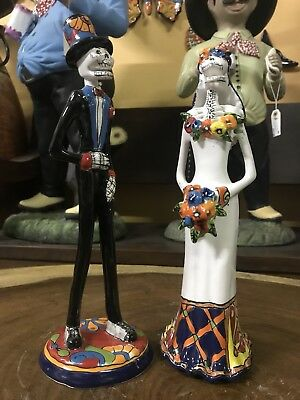 Mexican Talavera Catrina Day of the Dead Married Couple Pottery Ceramic Figure