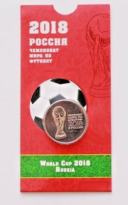 Coin with blister 2018 FIFA World Cup Russia 25 Rubles, 2016 UNC COIN CURRENCY