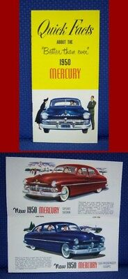 1950 MERCURY Quick Facts Color Brochure - MINT New Old Stock