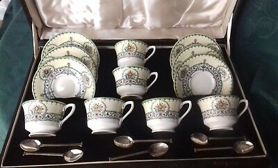 vintage teacups royal worcester CHALONS box set cups saucers spoons jeweled