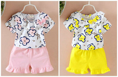 Toddler Kids Baby Girls summer Clothes T-shirt+ short Pants sweet Outfits flower