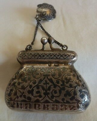 "Antique Russian  84 Silver Niello Small Chatelaine Purse ""kavkaz"" Kiev 1899-1908"