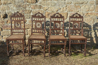 Antique French Oak Carved Henri II Style Bergere Vintage Dining Chairs SET OF 4