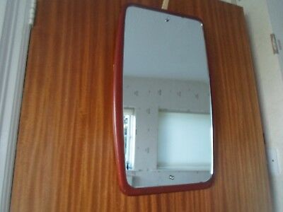 Vintage Retro Danish Inspired Frameless Mirror With Wood Surround