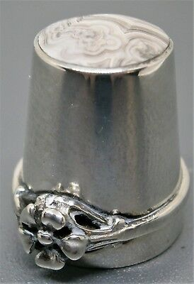 Unusual Vintage Sterling Silver & Agate Ring Thimble by David Scott Walker 1982