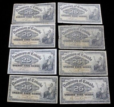 Lot of 8 1900 Dominion of Canada 25 Cents 25c Fractional Currency Notes