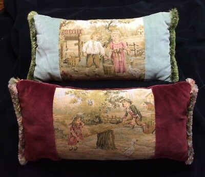 2 - Antique Pillows - Victorian Tapestry English - Children Playing - London