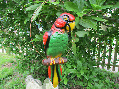"Brilliant Large Vintage Plaster Red Macaw Parrot On Perch 19"" Long"