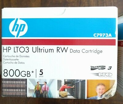 HP LTO3 Ultrium 800Gb RW Data Cartridge 5 Pack P/N: C7973A Brand New, Sealed