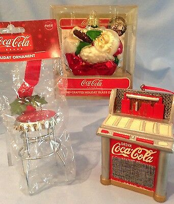 Coca-Cola Ornaments Glass Santa-75th Anniv., Metal Red Jukebox, Stool  Lot/3 $38