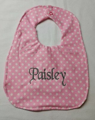 Girls Baby Pink Polka Dot Baby Bib Personalized Name Many Color Choices 4 Giftin
