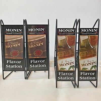 Monin Coffee Flavor Station Display Bottle Racks Stands Sauce Syrup Lot of 4 LB