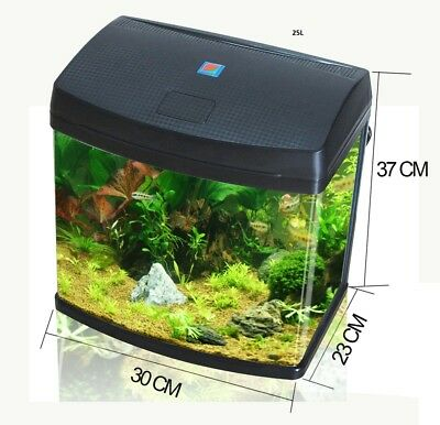 25L Aquarium Fish Glass Tank Fresh Water LED Light Filter Black BXA30