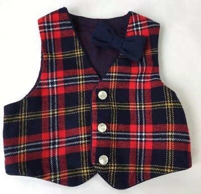 Vintage R-Gee Originals Boys Vest with Clip Bow Tie Navy Red Plaid Wool  3T USA