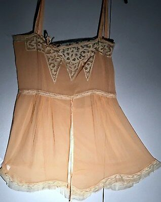 1920's LINGERIE STEP IN Silk Teddy With Delicate And Lovely Lace