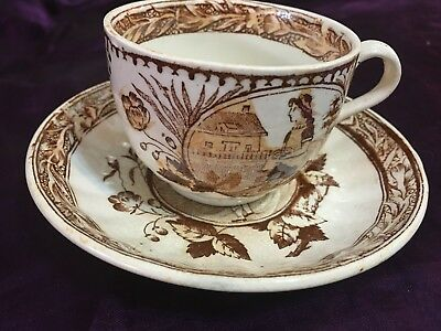 Antique Brown Polychrome Staffordshire Allerton May with Eggs Cup&Saucer Tea Set