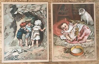Vintage Lot of 2 Victorian Trade Cards - McLaughlin Coffee - Cave Jingle Bow Wow