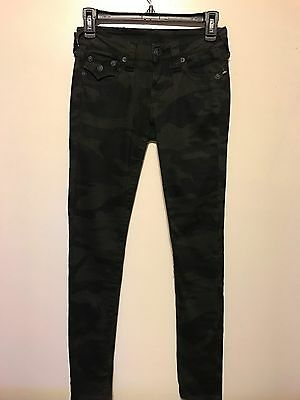 True Religion Womens Black Camo Sz 24 Skinny Jeans MSRP $205 NWoT w/DEFECT
