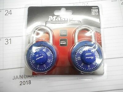 "NEW Double Blue Master Lock Number Combination 2 lock Combo 3/4"" 19 mm"