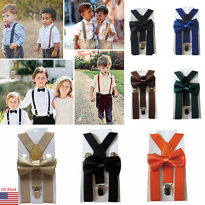 Leather Clip-on Suspenders and Bow Tie Matching Color Elastic Adjustable Braces