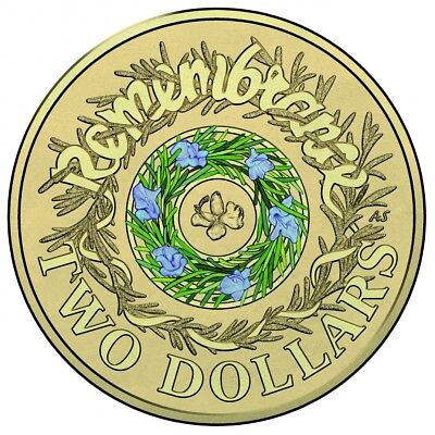 2017 Australian $2 Remembrance Green & Lilac rosemary coloured circle coin
