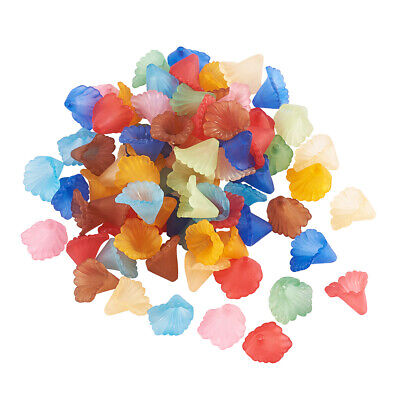 100pcs Transparent Flower Acrylic Beads Clear Small Bead Caps Loose Beads 10x5mm