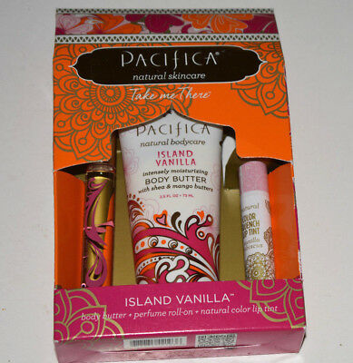 Pacifica Take Me There Island Vanilla 3 pc- Lip, Perfume, Body - NEW