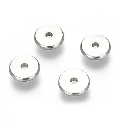 10pcs 304 Stainless Steel Flat Disc Metal Beads Smooth Loose Spacer Craft 10mm
